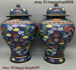 China Buddhism Bronze Cloisonne Pair Extra Large General Tank Statue 0113