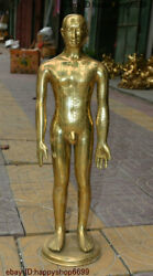 Antique Chinese Copper Brass People Medical Human Body Acupoint Introduce Statue