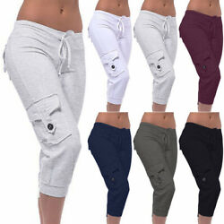 Women 3/4 Length Trousers Button Pocket Three Quarter Capri Cropped Pants