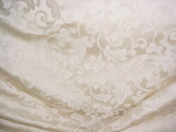 5-3/4y Kravet 24660 Antique White Pearl Silk Scroll Damask Upholstery Fabric