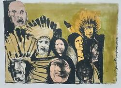 Leonard Baskin Indian Faces Lithograph Signed And Numbered In Pencil