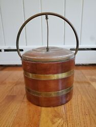 Antique Wood And Brass Ice Bucket Thermos Brand Liner