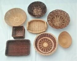 Gallery Wall Baskets Lot of 8 Vintage Wicker Rattan Seagrass Round Square