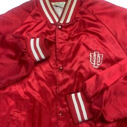 Satin Bomber Jacket Indiana University 70s 80s Men XL Script USA Distressed