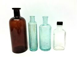 Lot Brown Blue Glass Medicine Bottles Healy Bigelows Kickapoo Cough Cure Atwoods