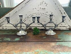 Vintage Wm Rogers And Son Spring Flower Silverplate 3 Candle Stick Holders