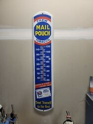 Large Mail Pouch Chewing Tobacco Gas Oil 39 Porcelain Metal Thermometer Sign