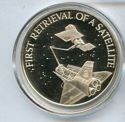 First Retrieval Of A Satelite Challenger 3/4 Ozt Sterling Silver Round - Jk523
