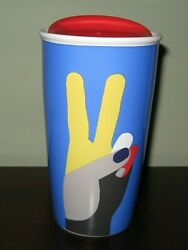 Starbucks Peace Sign Travel Mug And Lid New 2017 Tall Tumbler Blue/red/yellow 12oz