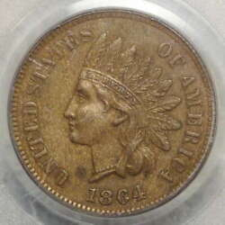 1864-l Indian Cent Pcgs Au-58 Old Holder Ogh Repunched Date Snow-11