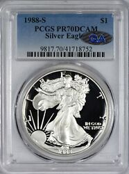 1988 S Silver Eagle Pcgs Pr70 Pf70 Dcam - Qa Approved Spot And Problem Free