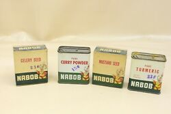 Vintage Nabob Spice Tin Can And Boxes Advertising Lot Kitchen Decor Display -m67
