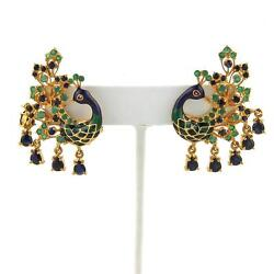 6ct Sapphire And Emerald Enamel 22k Yellow Gold Peacock Post Clip Earrings