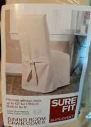 Sure Fit Long Dining Chair Slipcover Duck Natural Back Tie Set Of 2. Fits Most