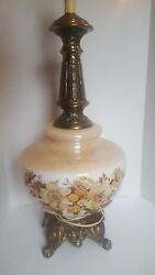 Vintage Ef And Ef Industries Large Ombre Floral Lamp Glass Brass