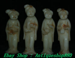 6 Old China Natural White Jade Carving 4 Beauty Belle Woman Maid Set Statue
