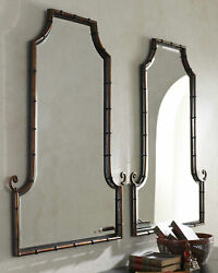 Horchow Black And Gold Asian Chippendale Regency Rattan Mirror Set Two