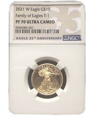 Pf70 Ngc American Eagle 2021 One-quarter Ounce Gold Proof 10