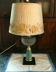 Antique Electric Oil Lamp Green Glass Brass Paper Shade Pressed Glass Rustic Far