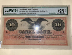 10 1860s New Orleans Canal And Banking Co. Gem Uncirculated