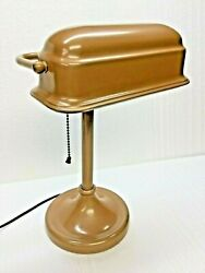 Vintage Classic Bankers Desk Lamp Coffin Shade W Beautiful Milk Chocolate Finish