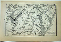 West Virginia Central And Pittsburg Railway - Original 1901 System Map. Antique