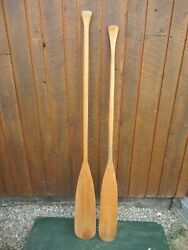 Great Vintage Set Of Wooden Boat Oars 66 + 63 Long Paddles Great Patina