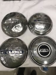1940and039s 1950and039s 1960and039s Vintage Ford Truck Dog Dish Hubcaps Blue Set Of 4 Oem 56