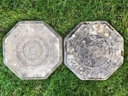 2 Stone Vintage French Architectural Octagon Garden Wall Geometric Plaques