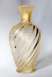 Archimede Seguso 23cm Gold Inclusions 'ribbon' Glass Vase Murano Italy Signed