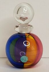 Archimede Seguso Murano For And Co. Carnival Perfume Bottle Glass Signed