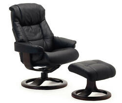 Fjords Loen Large Recliner Comfort Chair - Black Leather - Espresso Wood Stain