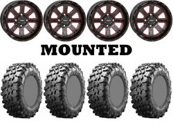 Kit 4 Maxxis Carnivore Tires 32x10-14 On System 3 St-4 Red Wheels Sra