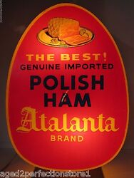 Atalanta Polish Ham The Best Old Lighted Store Display Figural Advertising Sign