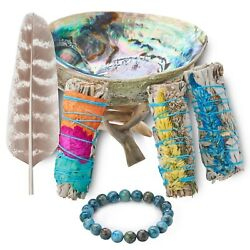 Sage Smudge Kit With 3 Flower Sage Bundles Abalone Shell And Stand Smudging Kit