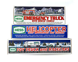 Hess Toy Lot W/ Truck And Racercars 2003, Helicopter W/moto 2001, Emergency 2005