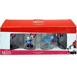 Minnie Mouse Juice Glasses 8 Ounce Set Of 4 New Disney Pink Bow