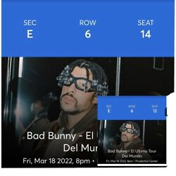 2 Tickets For Bad Bunny El Ultimo Tour 4/18/22 Newark,nj Prudential Center