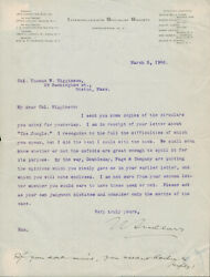 Upton Sinclair Signed Ms Letter To Thomas Wentworth Higginson Re The Jungle 1906