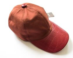 Stefano Ricci Brick Red Silk With Crocodile Leather Baseball Cap Hat Size 60 Xl
