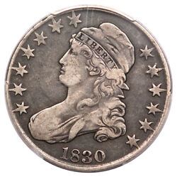 1830 50c Large Letters Overton 114 Capped Bust Half Dollar Pcgs Vf20