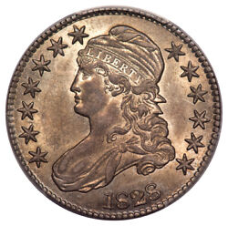 1828 50c Square 2, Small 8, Large Letters Capped Bust Half Dollar Pcgs Au58 ...