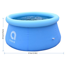 NEW 6#x27; x 29quot; 6 feet Inflatable Round Outdoor Backyard Kids Swimming Pool