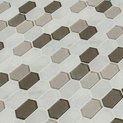 Inessa Blanco Picket Glass And Stone Mosaic Tile - Msi - 1=10 Sf 1=1 Boxes