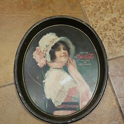 Original Antique Coca-cola Betty Oval Tray Made By Passaic Metal Ware Co N J