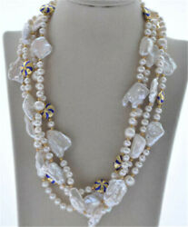 68 23mm White Baroque Round Pearl Cloisonne Necklace