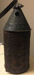 Antique Punched Pierced Hanging Candle Lantern Brass Oxidized Copper Color