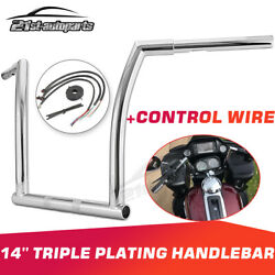 Chrome Chizeled Fat Bar 14 Handlebar + Extend Wire For 15-21 Harley Road Glide