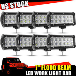 8x 7 Inch 36wled Work Light Bar Flood Pods Offroad 4wd Suv Driving Fog Lamp 6and039and039