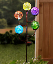 Solar Lighted Colorful Rustic Crackled Glass Gazing Ball Garden Stake Accent New